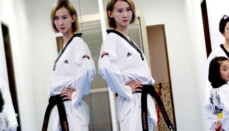容筱希變身成跆拳道教練,上課時一臉嚴肅、相當嚴格。(陳信翰攝)