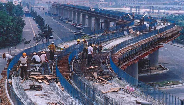 1991年施工中的台北捷運木柵線。(中時攝影中心攝)